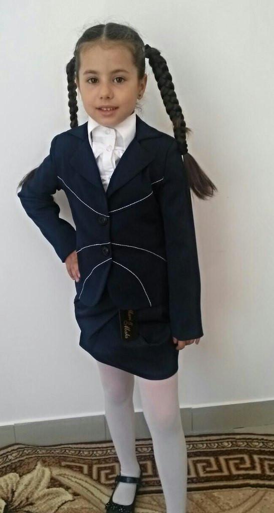 """Школьный шерстяной пиджак для девочки """"Emily"""" на пуговицах"""