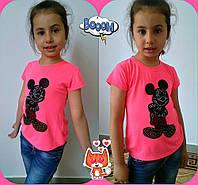 """Яркая детская футболка для девочки """"Микки"""" со стразами (4 цвета)"""