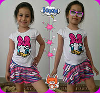 """Летний детский костюм для девочки """"Понка"""" юбка и футболка с аппликацией (2 цвета)"""