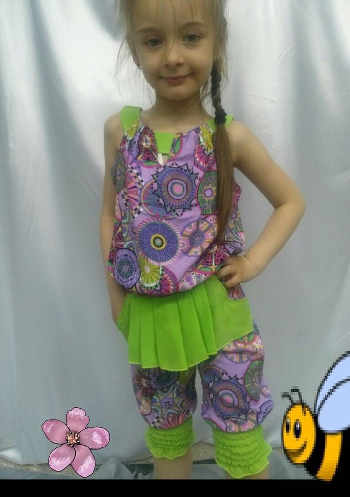 """Детский летний костюм для девочки """"Евгения"""" блуза и бриджи с карманами (2 цвета)"""