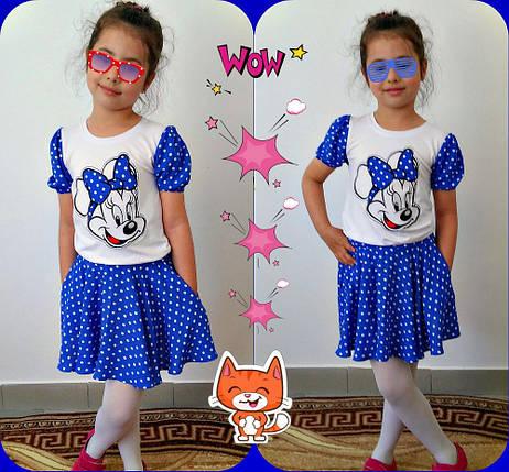 """Яркий летний костюм для девочки """"Микки"""" с вышивкой (2 цвета), фото 2"""