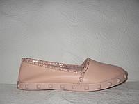 Мокасины женские модные натуральная кожа розового цвета