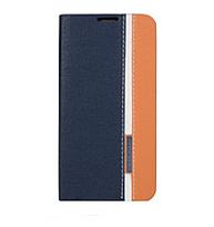 Чехол для Lenovo A5000 книжка боковой с отсеком для визиток, Синий с белой полоской