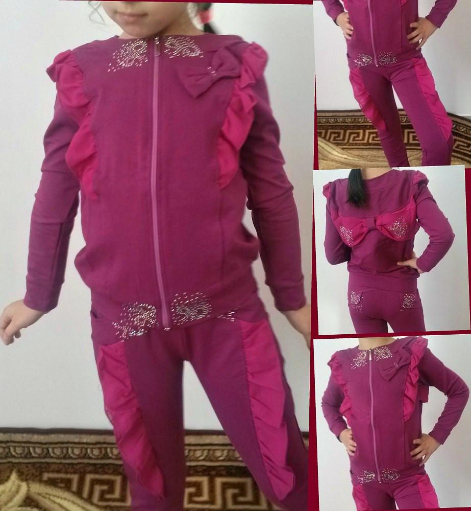 """Детский трикотажный спортивный костюм для девочки """"Ashley"""" со стразами и бантом на спине"""