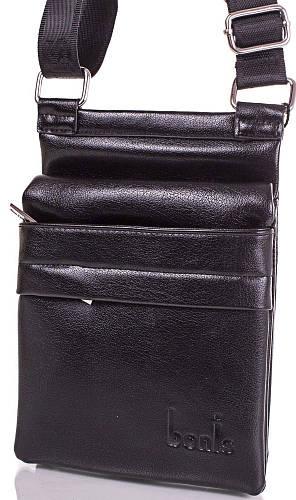Мужская сумка из качественного кожзаменителя BONIS (БОНИС) SHI8606-2 черная