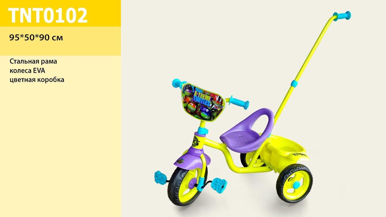 """Детский трехколесный велосипед Disney """"Нинзя Черепашки"""" с ручкой"""