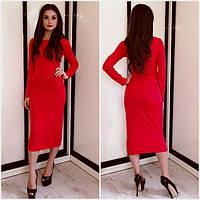 Стильно трикотажное платье футляр миди красное, фото 1