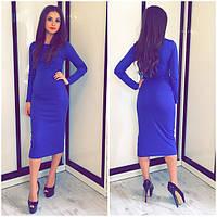 Платье классическое(48-52) футляр миди синий