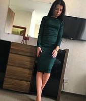 Платье классическое футляр миди темно-зеленый(бутылка)