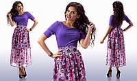 """Элегантное длинное женское платье """"Цветы Комби"""" в расцветках"""