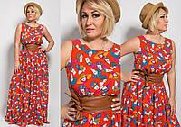 """Длинное летнее платье без рукавов """"Julie"""" с узором и поясом (3 цвета)"""