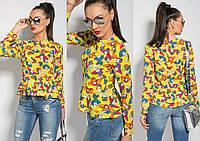 """Яркая женская шифоновая блуза """"Элли"""" с длинным рукавом (3 цвета)"""