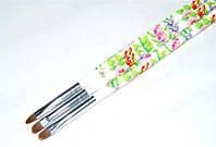 Кисть для геля закругленная с цветочным принтом №6, кисть yre ykgr-06-c, кисти для маникюра