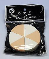 Спонж колесо 6 шт в упаковке SP-06, спонжики YRE, спонжики для косметолога