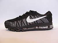 Кроссовки мужские  Nike Flyknit Air Max текстиль, черные  (найк аир макс)р.42,44,45