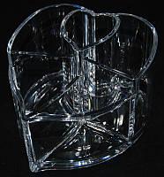 Органайзер для кистей и косметики пластиковый в форме сердца YRE MF-B042, органайзеры для косметики купить
