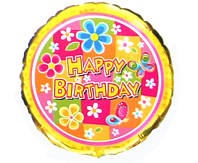 "18"" Фольга 401526 Happy Birthday Цветы"