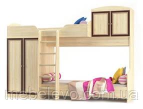 Кровать двухярусная Дисней горка 2180х2942х1062мм дуб светлый   Мебель-Сервис