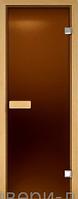 """Стеклянные матовые двери для бань и саун """"Бронза матовая"""" 80 х 200 см (Дверная коробка ольха)"""