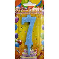 Свеча-цифра для торта голубая 7