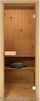 """Стеклянные двери для бань и саун """"Прозрачное стекло"""" 70 х 190 см (Дверная коробка ольха)"""