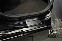 Накладки на пороги Premium Honda Jazz II 2008-