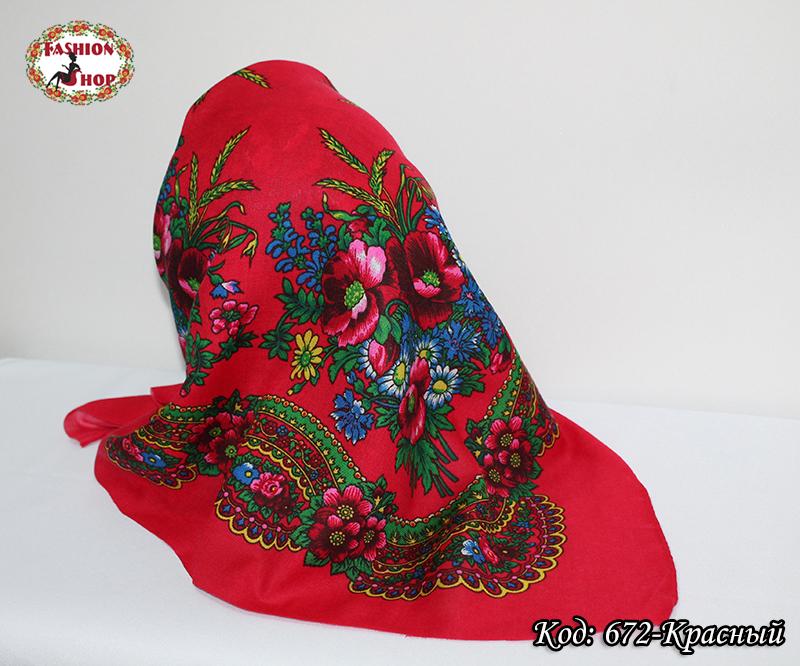 Украинский маленький красный платок Колосок