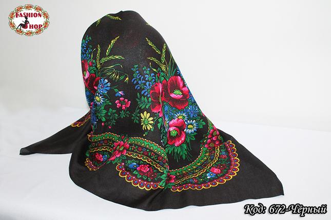 Украинский маленький чёрный платок Колосок, фото 2