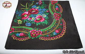 Украинский маленький чёрный платок Колосок, фото 3
