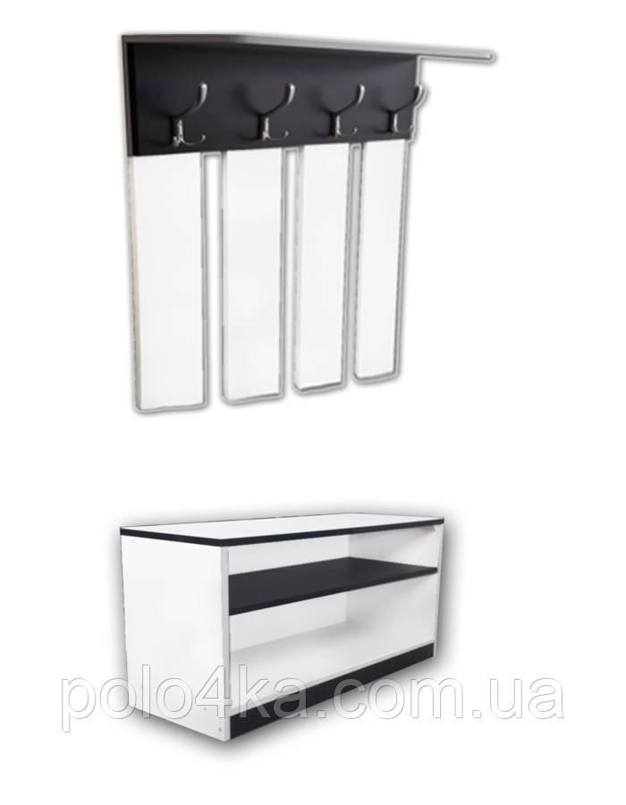 Вешалка для одежды+тумбочка для обуви ДСП белая/черная