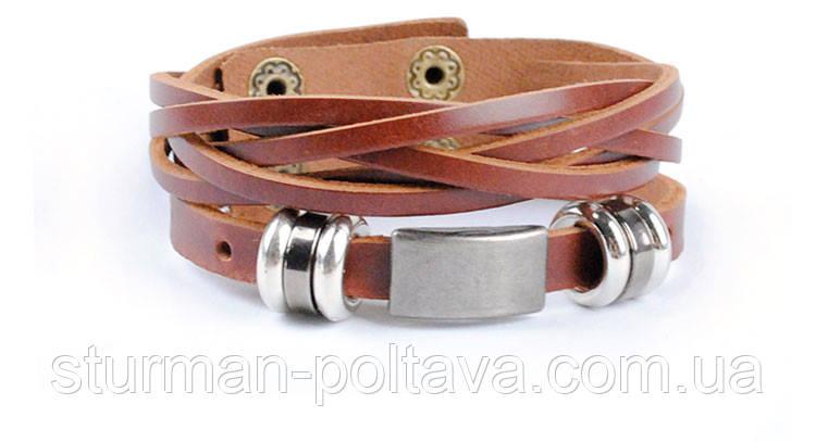 Браслет мужской кожаный на руку  коричневый
