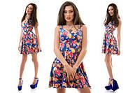 Легкое летнее мини-платье с расклешенной юбкой