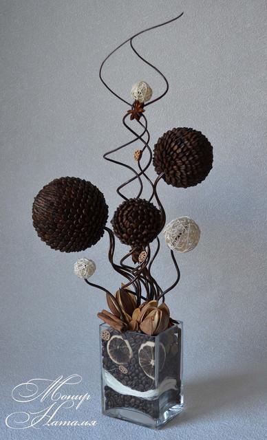 Кофейные топиарии, деревья из кофейных зерен