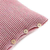 Подушка декоративная Ohaina на пуговицах вязаная 40х40  цвет розовая пудра, фото 1
