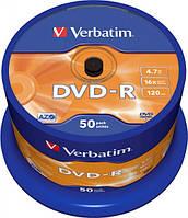 Диск VERBATIM DVD-R 4,7Gb 16x Cake 50 pcs Printable 43533