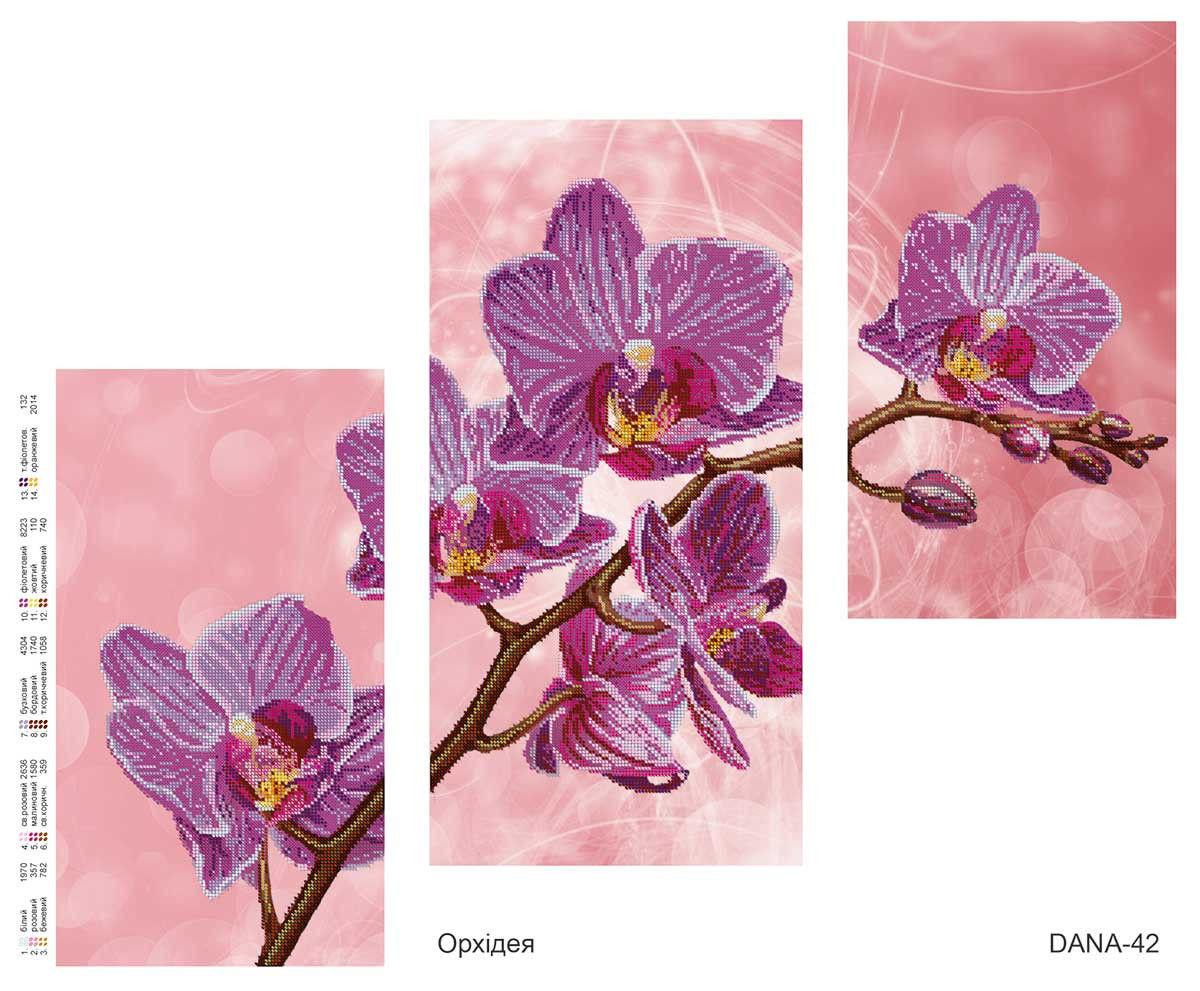 """Схема для частичной вышивки бисером """"Орхидея"""", триптих 42"""