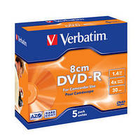 Диск VERBATIM DVD-R 1,4Gb 4X Jewel 5 pcs 43510