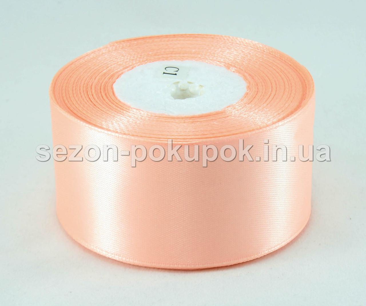 Лента атласная ширина 4 см (23 метра) цвет - персиковый