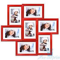 Фоторамка Камелия на 7 фотографий 10x15, антибликовое стекло (красный)