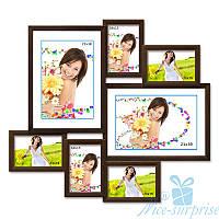 Рамка для фотографий на стену Алиса на 7 фотографий, антибликовое стекло (коричневый)