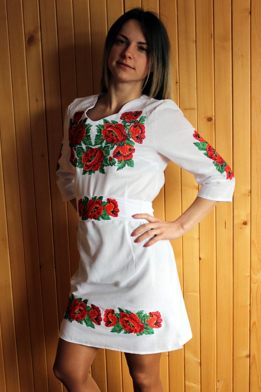 """Вышитое платье """"Маки"""" (006)"""