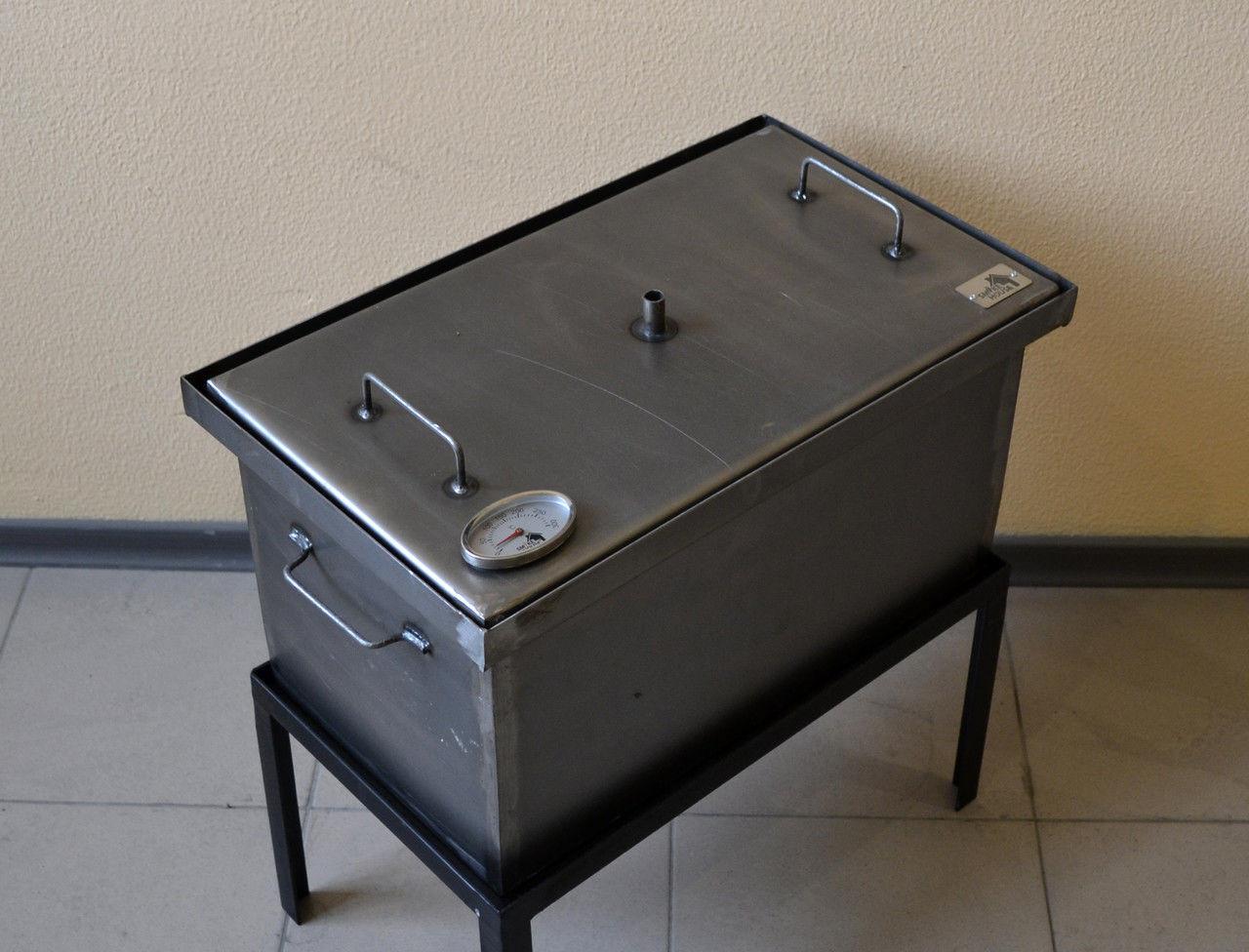 Коптильня для горячего копчения (520х300х280) с термометром, фото 1