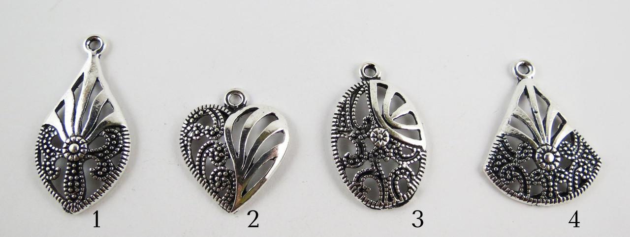 Подвески, Ажурные, Цинковый сплав, Цвет: Античное серебро