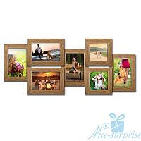 Фоторамка Валерия на 7 фотографий, брашированная, антибликовое стекло (светлое дерево)