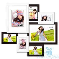 Настенная рамка для фото Алиса на 7 фотографий премиум, антибликовое стекло (черно-белый)
