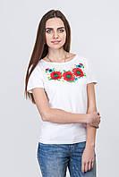 Женская вышитая футболка крупный мак
