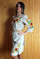 """Вышитое платье """"Подсолнух"""" (008)"""