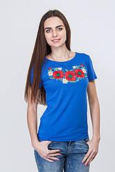 Жіноча футболка електрик з червоними маками