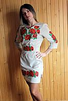 """Вышитое платье """"Маки"""" (009)"""