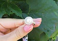 Серебряное кольцо с жемчугом и фианитами, фото 1